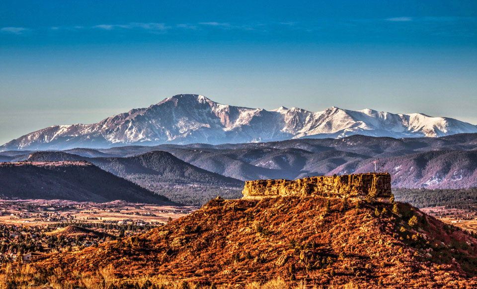 Pikes Peak and The Rock of Castle Rock - landscape photography